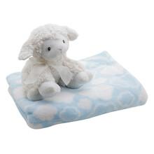 Bộ mền xanh in bông và cừu nơ trắng Little Footprints SSM01200