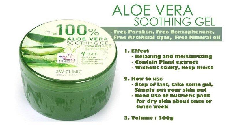 Gel dưỡng da ALoe Vera Smoothing Gel 3W Clinic 100%