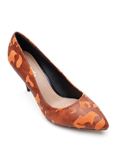 Giày cao gót bít mũi nhọn da vân gỗ cao 7 phân Mirabella BMN556