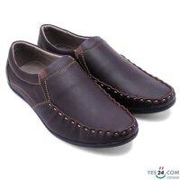 Giày nam Huy Hoàng viền chỉ màu nâu HH7165