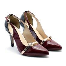 Giày sandal cao gót 7cm Slingback màu đỏ-B26O