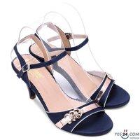 Giày sandal cao gót Huy Hoàng màu xanh HH7064