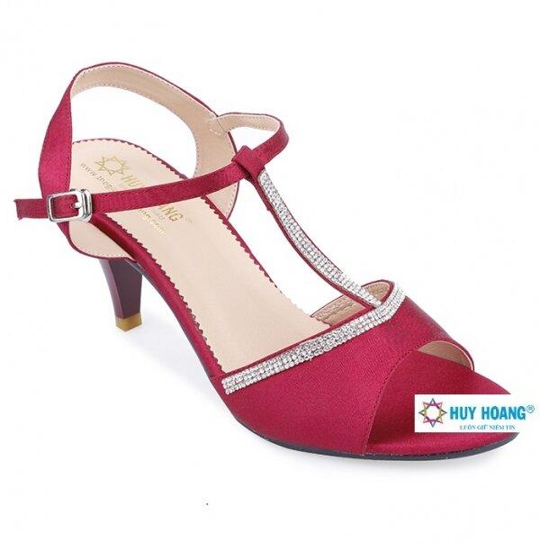 Giày sandal cao gót Huy Hoàng màu đỏ HH7055