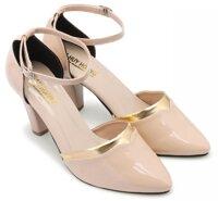 Giày sandal nữ Huy Hoàng 7cm màu kem HH7019