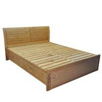 Giường ngủ gỗ sồi đầu cong có 2 ngăn kéo