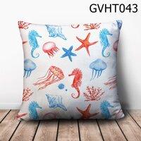 Gối vuông cá ngựa sứa biểm - GVHT043