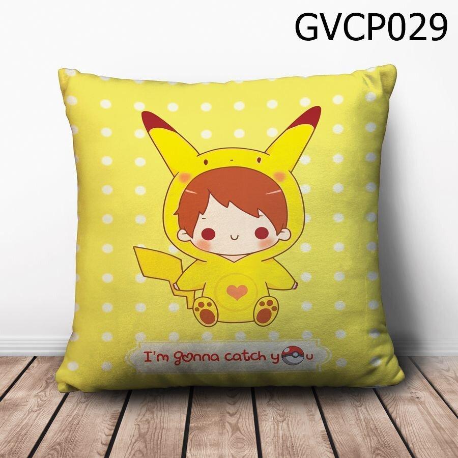 Gối vuông Cậu bé Pikachu - GVCP029