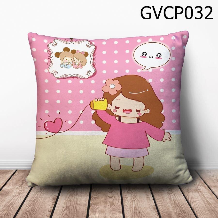 Gối vuông cô bé cầm ống nghe - GVCP032