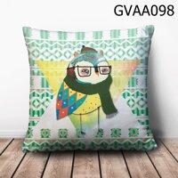 Gối vuông Cú quàng khăn len - GVAA098