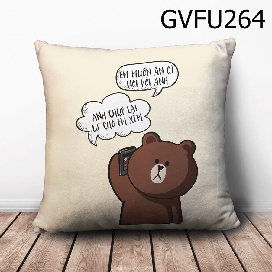 Gối vuông Em muốn ăn gì - GVFU264