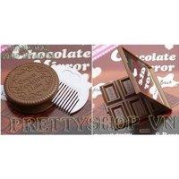 Gương trang điểm hình bánh quy, vỉ chocolate - PK016
