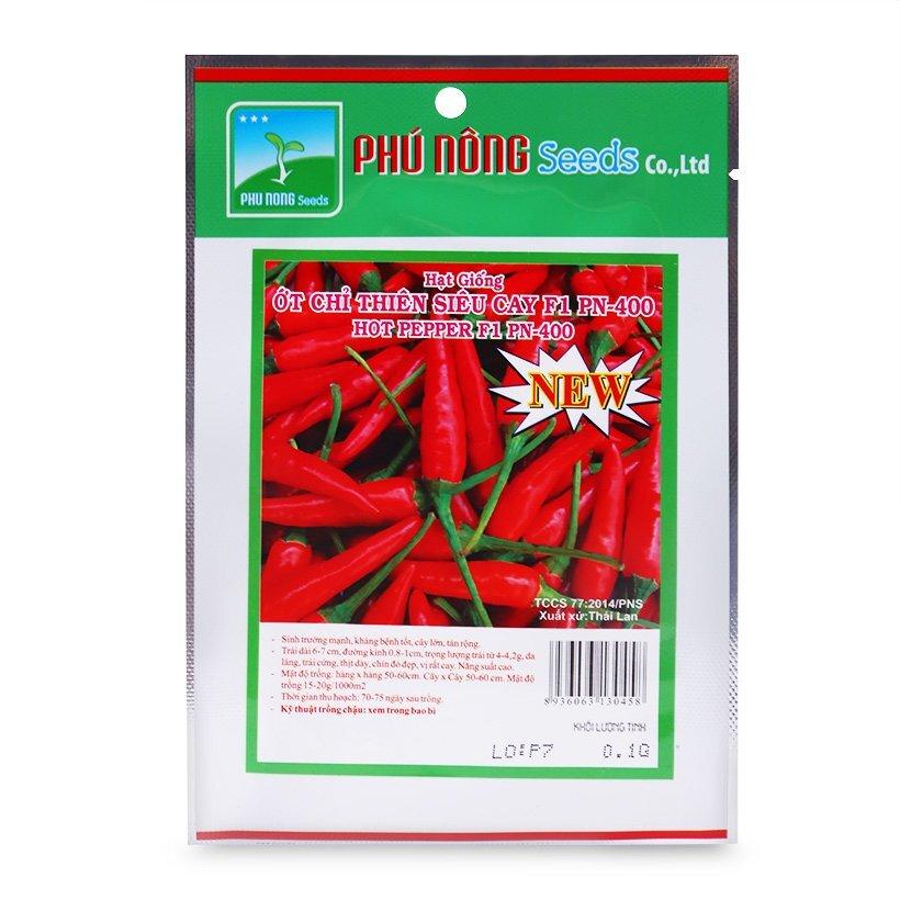 Hạt giống ớt chỉ thiên siêu cay F1 Phú Nông PN-400 gói 0,1g