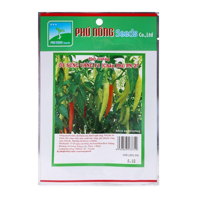 Hạt giống ớt sừng vàng F1 PN-27 Phú Nông Seeds gói 0,1g