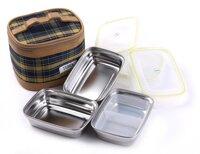 Hộp đựng thực phẩm hình chữ nhật inox 3 SL4 -kèm túi