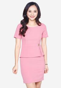 Đầm peplum tay ngắn The One Fashion DDC1541HOS