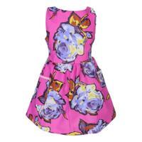 Đầm khoét lưng thắt lưng sau in hoa hồng Cuckeo HC 557