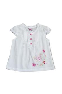 Áo cổ tròn bèo tay con màu trắng-0220051021