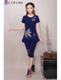 Bộ quần áo lửng cách điệu Thêu hoa lan CIRINO