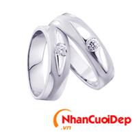 Nhẫn cưới vàng trắng NCD 2089
