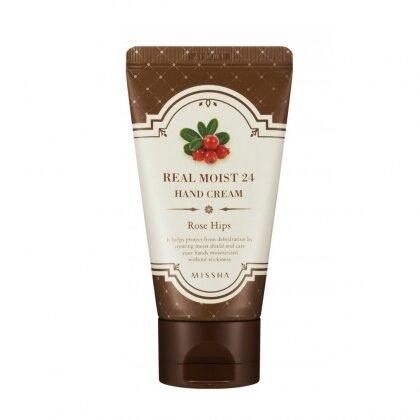 Kem Dưỡng Ẩm Da Tay Missha Real Moist 24 Hand Cream (Rose Hips) 300ml