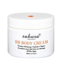 Kem dưỡng trắng da và trang điểm nhẹ toàn thân Sakura BB Body Cream - 200g