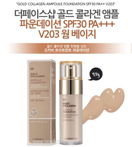 Kem nền The Face shop Gold Collagen Ampoule Foundation