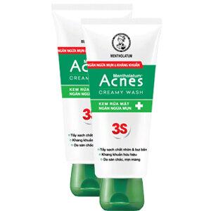 Kem rửa mặt ngăn ngừa mụn sạch khuẩn mụn da mịn màng Acnes Creamy Wash 50g