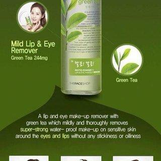 Kem tẩy trang mắt môi trà xanh Phyto Powder In Lip Eye Makeup Remover Green Tea TheFaceShop - 100 ml