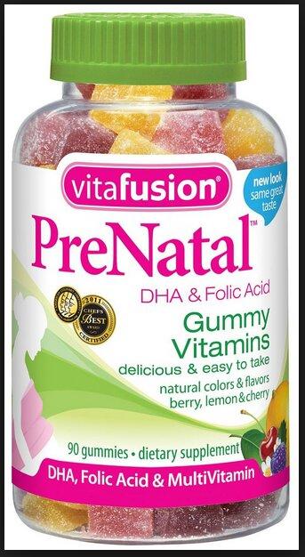 Kẹo dẻo cho phụ nữ mang thai Gummy Vitafusion PreNatal bổ sung DHA và khoáng chất - 90 viên