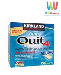 Kẹo Singum cai thuốc lá Kirkland Signature Gum Quit 4 190 viên
