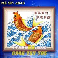 Tranh thêu chữ thập cá chép DLH-YA843
