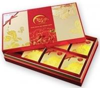 Hộp bánh trung thu Kinh đô Trăng Vàng Bạch Kim Đắc Lộc 6 bánh + 1 hộp trà Olong
