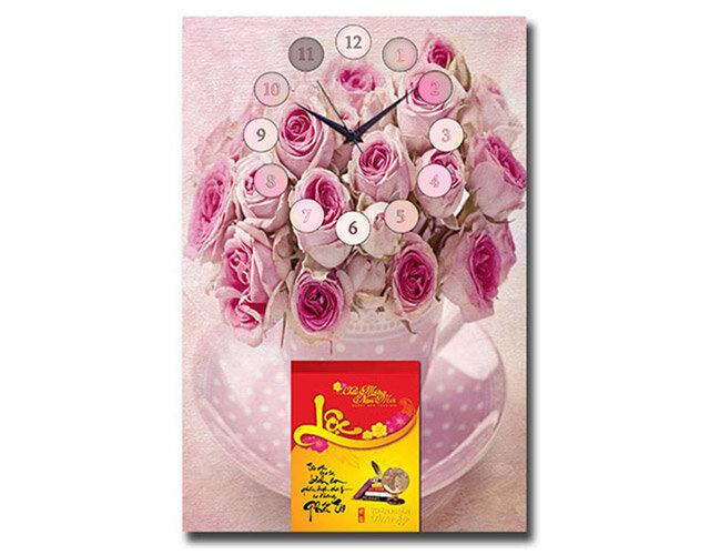 Lịch bloc đồng hồ tranh Suemall hoa hồng DHL140912
