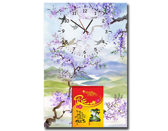 Lịch bloc đồng hồ tranh Suemall mùa xuân DHL140921