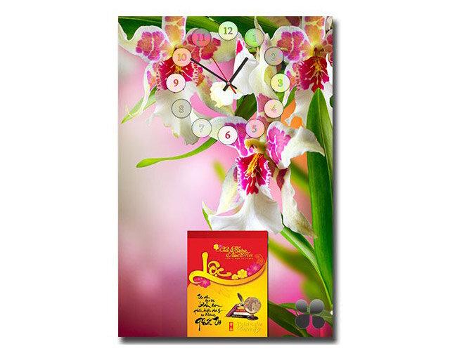 Lịch bloc đồng hồ tranh Suemall hoa lan tím DHL140927