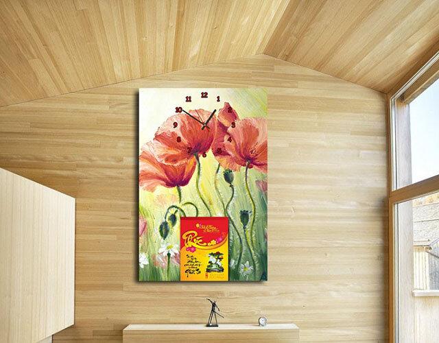 Lịch bloc đồng hồ tranh Suemall hoa rừng DHL140915