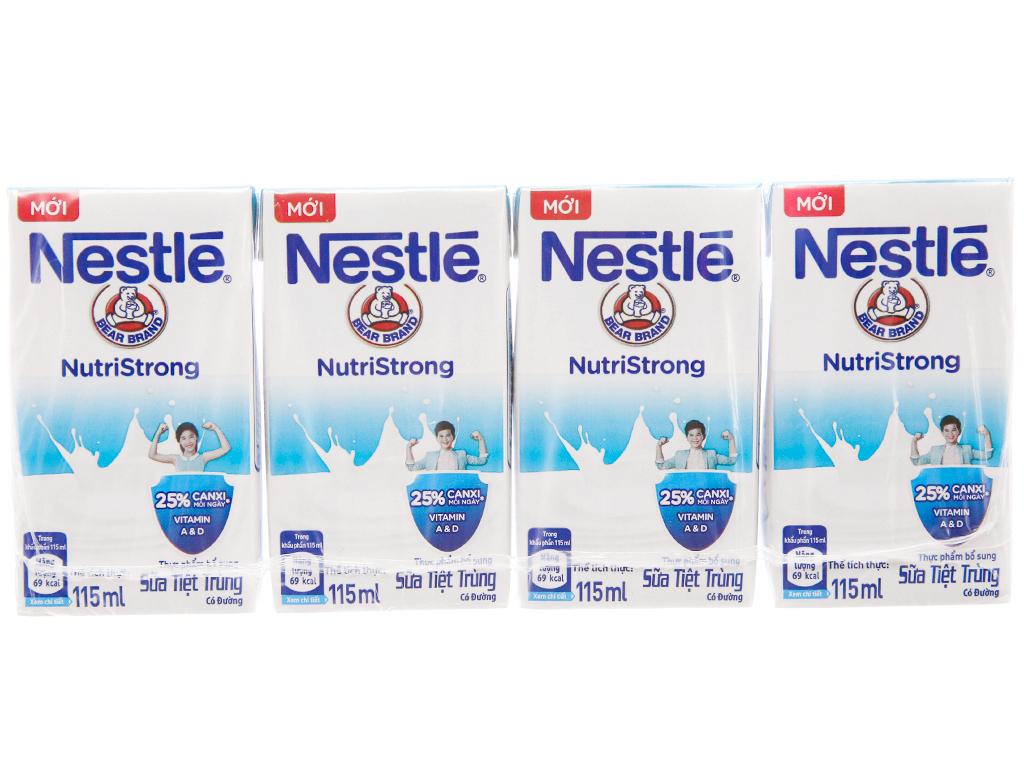 Lốc 4 hộp sữa tiệt trùng có đường Nestlé NutriStrong 115ml