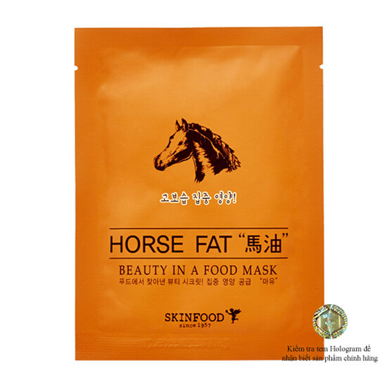 Mặt nạ chiết xuất mỡ ngựa Skinfood Beauty In A Food Mask Sheet Horse Fat