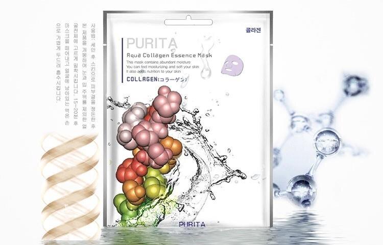 Mặt nạ giấy chiết xuất Collagen Purita Aqua Collagen Essence Mask