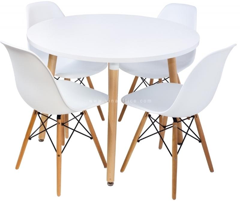 Bộ bàn ăn 4 ghế trắng BGN02