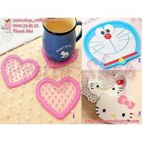 Miếng lót ly silicon hình Kitty, Doremon, trái tim GD071