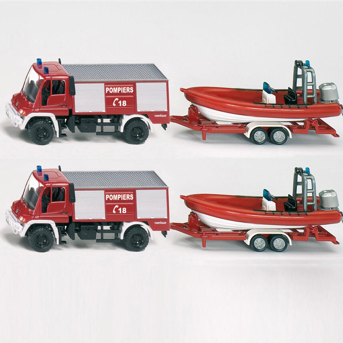 Mô hình xe và ca nô cứu hỏa Siku 1636