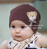 Mũ cotton gấu cho bé