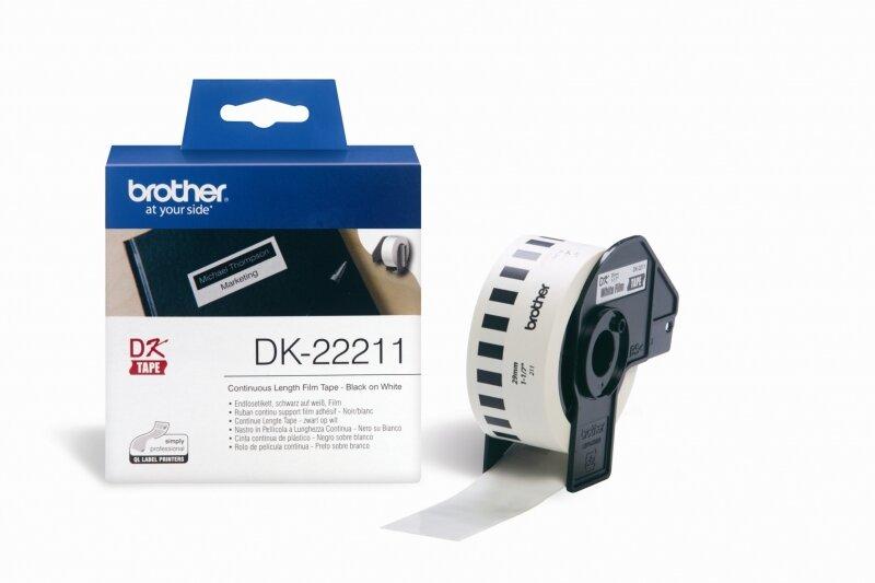 Nhãn Brother DK22211, Black on White (chữ đen nền trắng), khổ 29mm x 15.24mm