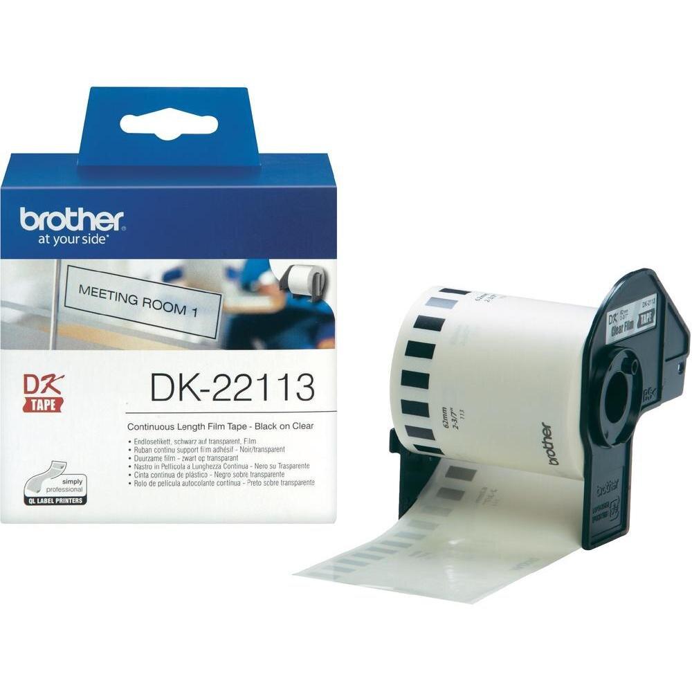 Nhãn Brother DK22213, Black on Clear, khổ rộng 62mm x 15.24m