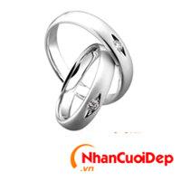 Nhẫn cưới vàng trắng NCD 2067