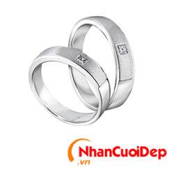 Nhẫn cưới vàng trắng NCD 2088