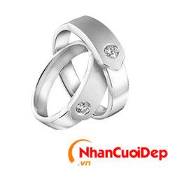 Nhẫn cưới vàng trắng NCD 2099