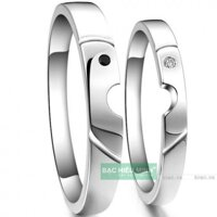 Nhẫn đôi Bạc Hiểu Minh NC050 - Nụ hôn tình yêu