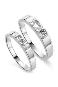 Nhẫn đôi Bạc Hiểu Minh NC148 anh yêu em trọn kiếp (Bạc)